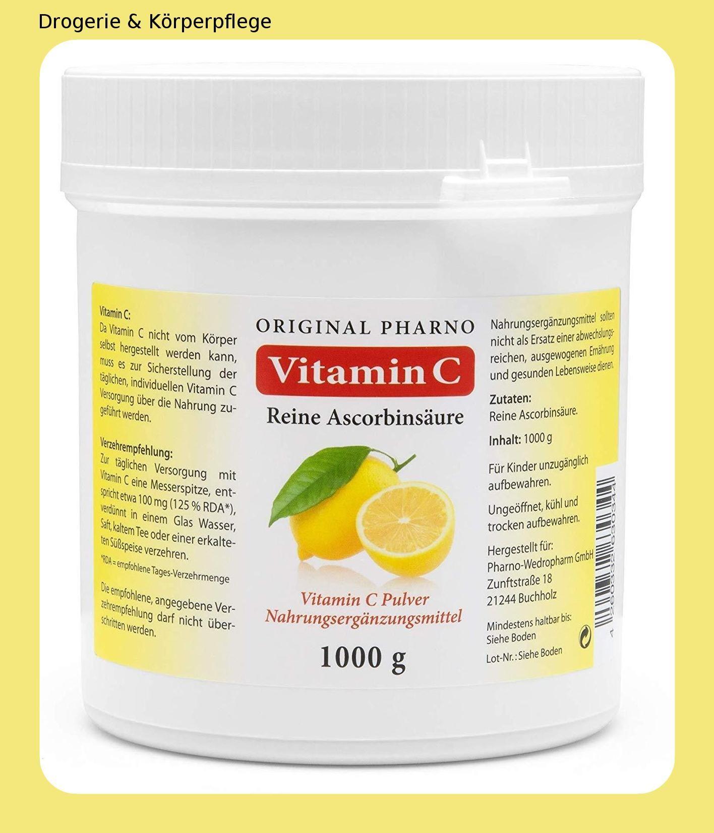 Vitamin C Reine Ascorbinsaure Apotheken Qualitat 1 Kg 1 Dose