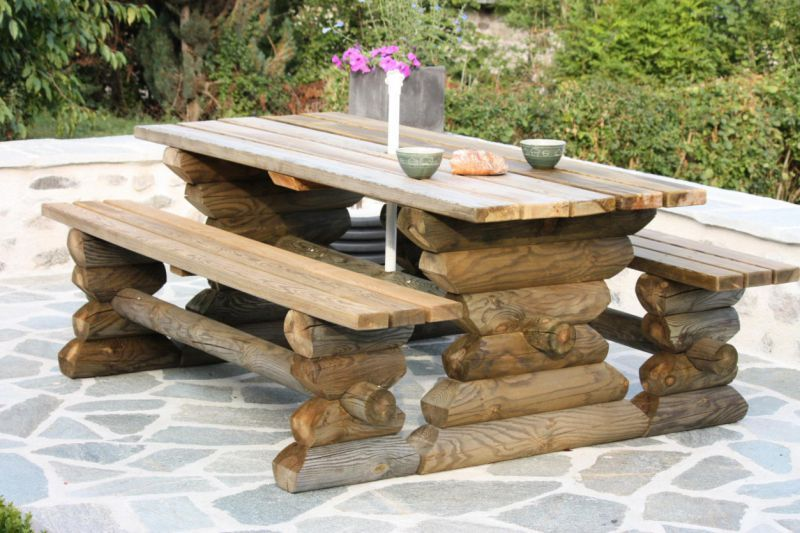Table de pique-nique en bois autoclavé | terrasse | Table de pique ...
