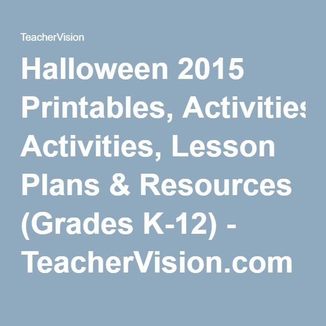 Halloween 2015 Printables, Activities, Lesson Plans & Resources (Grades K-12) - TeacherVision.com