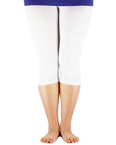 bf2061496884f Zando Women s Plus Size Ultra Soft Summer Cropped Leggings Elastic Cool  Lightweight 3 4 Length