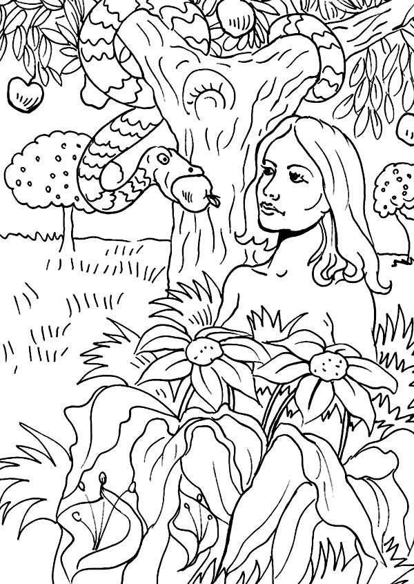 adam and eve snake the serpent told eve to eat forbidden apple in adam bible coloring pagesforbidden - Adam Eve Story Coloring Pages