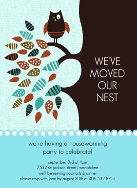 Colorful Owl Leaves Nest Housewarming Party Invitation Oh The
