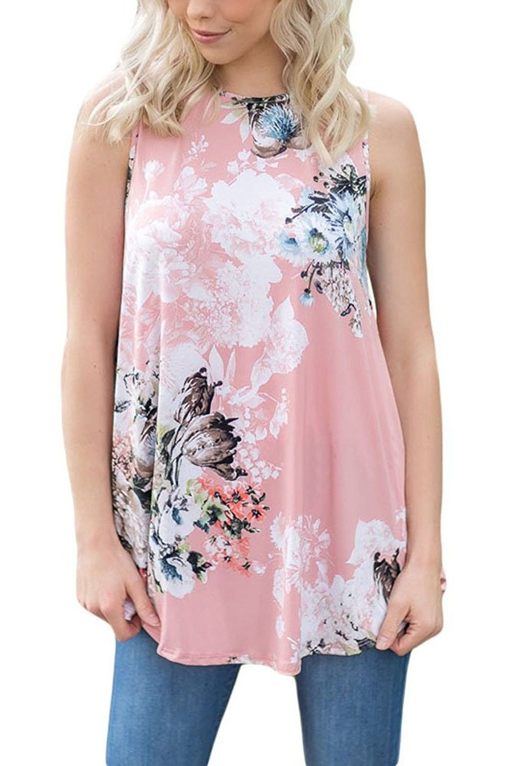 1e25df5a8d2 Womens Summer Casual Floral Print Sleeveless Loose Tank Blouses and Tops -  Pink - CH182M99WD9,Women's Clothing, Tops & Tees, Blouses & Button-Down  Shirts ...