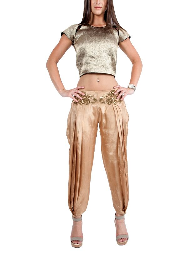 d38169a17c652 Indian Fashion Designers - Ropero - Contemporary Indian Designer - Tops -  ROP-SS15-RT-144 - Plush Gold Crop Top