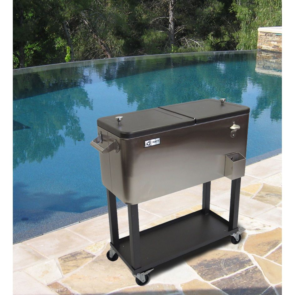 Portable Stainless Steel Rolling Cooler Shelf Outdoor Beverage Bar Cart 20  Gal