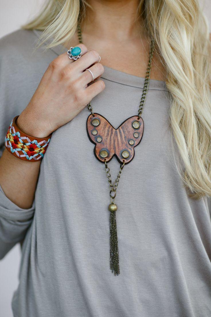 Butterfly Leather Boho Necklace #butterflies