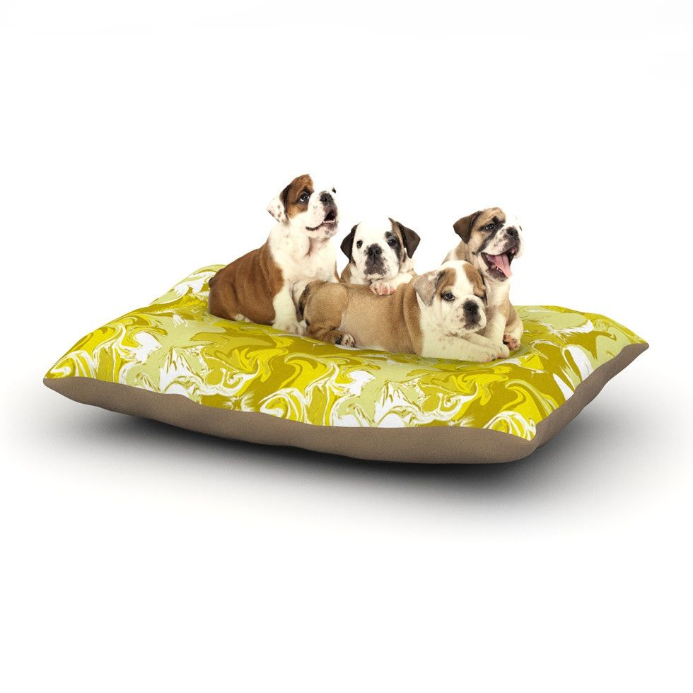 """Anneline Sophia """"Marbleized In Gold"""" Yellow Dog Bed"""