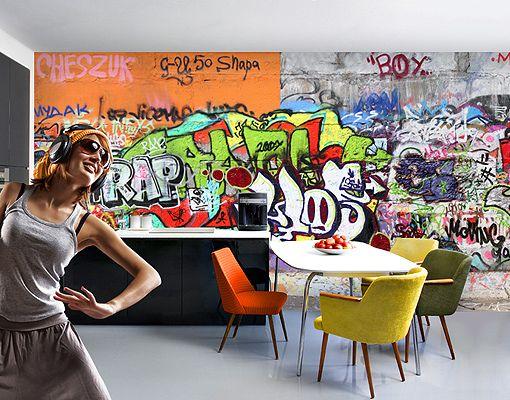 Fototapete graffiti tapete hip hop grafitti graffitti street art jugendkultur ebay - Graffiti tapete jugendzimmer ...