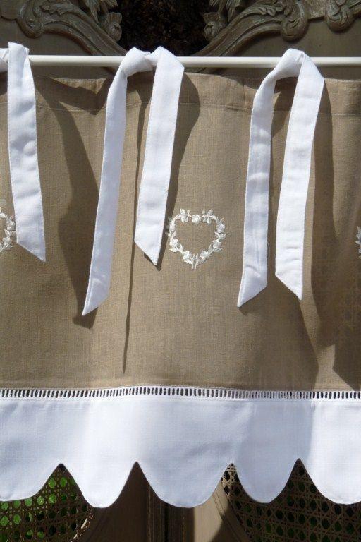 Cantonnière Campagne Coeur blanc, Cantonnières, cantonnière, rideaux ...