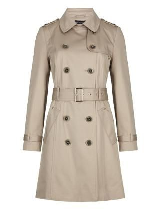 Petite Pure Cotton Double Breasted Belted Trench Coat with Stormwear&