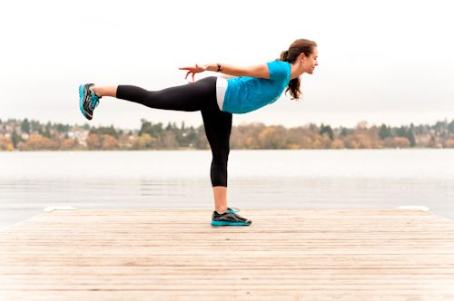 Warrior III (from high lunge): strengthens ankles, legs, core and improves proprioception.