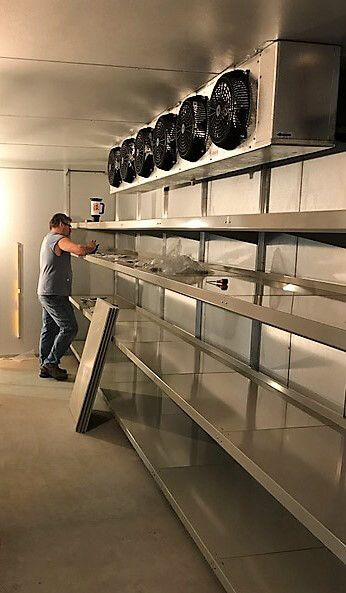 Maximize Space In Your Walk In Cooler With Continuous Shelf Tiers Adjusted To The Height You Requ Fridge Design Contemporary Kitchen Renovation Walk In Freezer