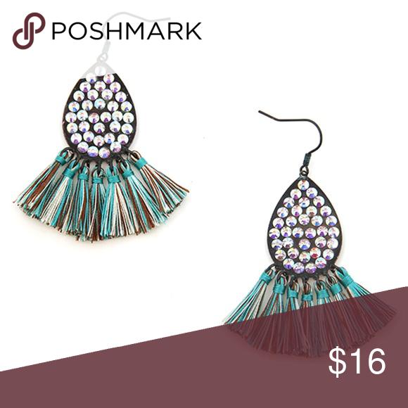 Bling Rhinestone Tassel Fan Earrings Patina Multi Fan Earrings Boutique Jewelry Earrings