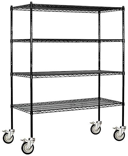Salsbury Industries Mobile Wire Shelving Unit 60inch Wide By 69inch High By 18inch Deep Black Click I Wire Shelving Units Wire Shelving Salsbury Industries