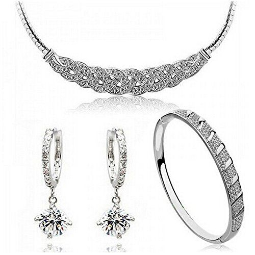 HSG Popular Luxury Waltz Sliver White diamond Jewelry Set Necklace