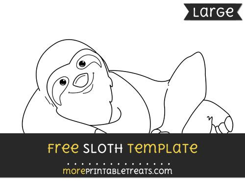 free sloth template large jungle safari theme printables