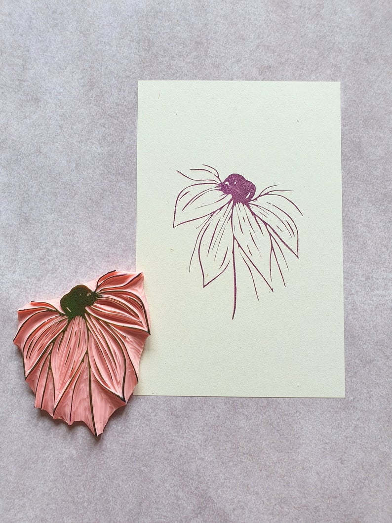 Wild flower rubber stamp for birthday cards boho wedding stamp