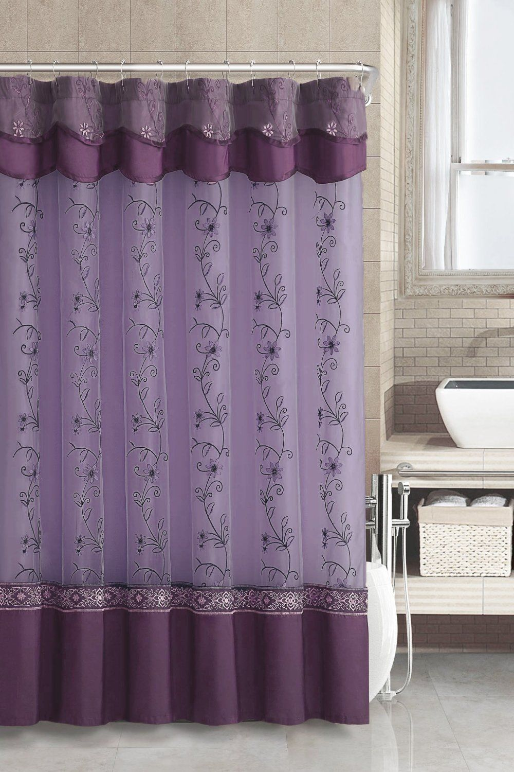 Amazon.com   Two Layered Embroidered Fabric Shower Curtain With Attached  Valance (Purple