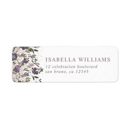 Purple Watercolor Flowers Wedding Label Wedding labels, Weddings