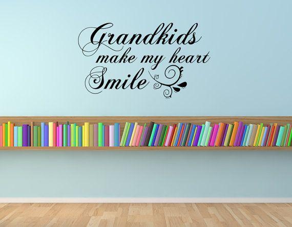 Grandkids make my heart smile, grandkids quote, grandchildren quote, vinyl quote, vinyl wall decal, grandparent gift, grandchildren, family
