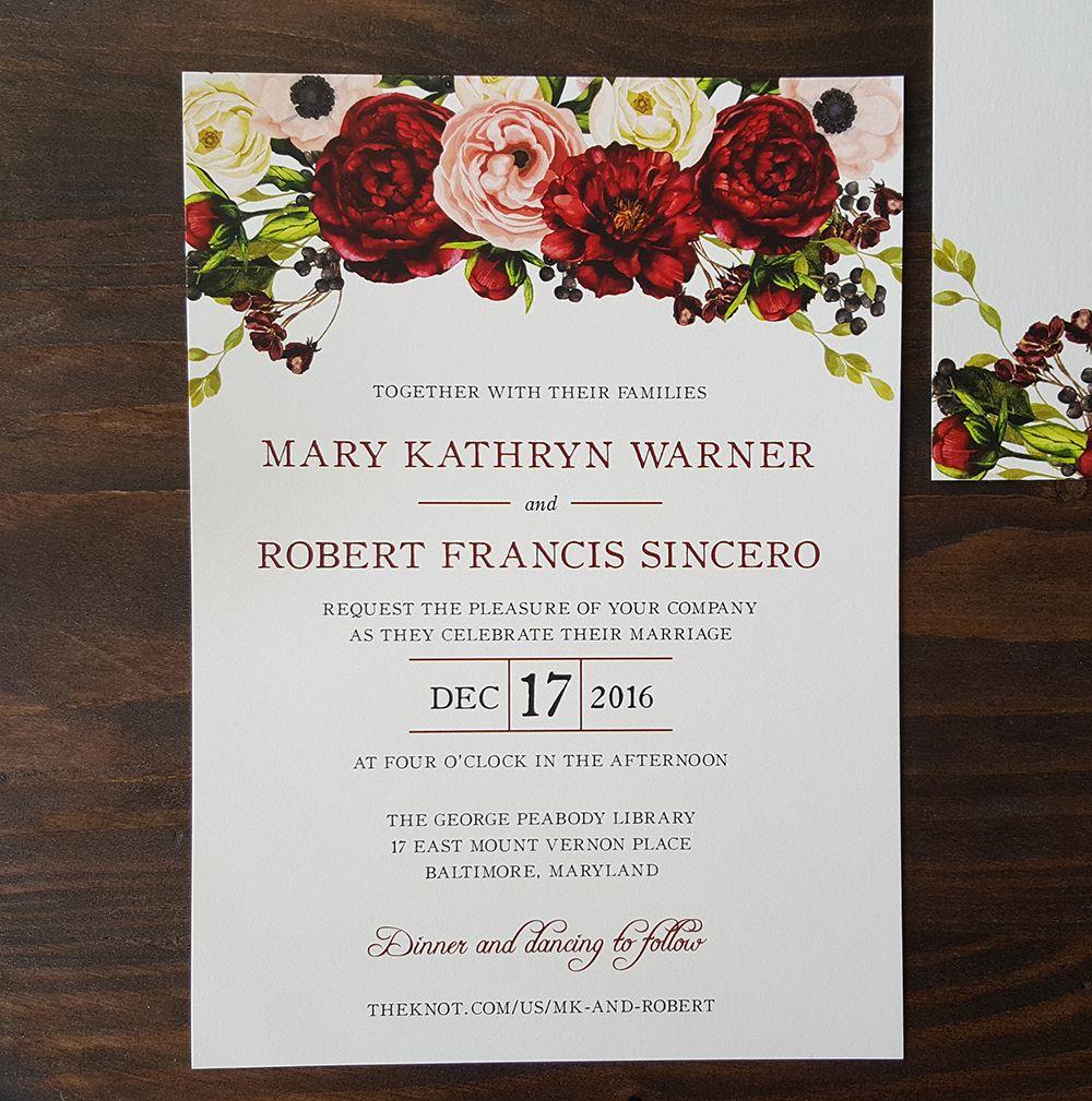 Floral Wedding Invitation   Rose Wedding Invitation   Elegant Wedding  Invitation   Red Wedding Invitation   W 55   SAMPLE