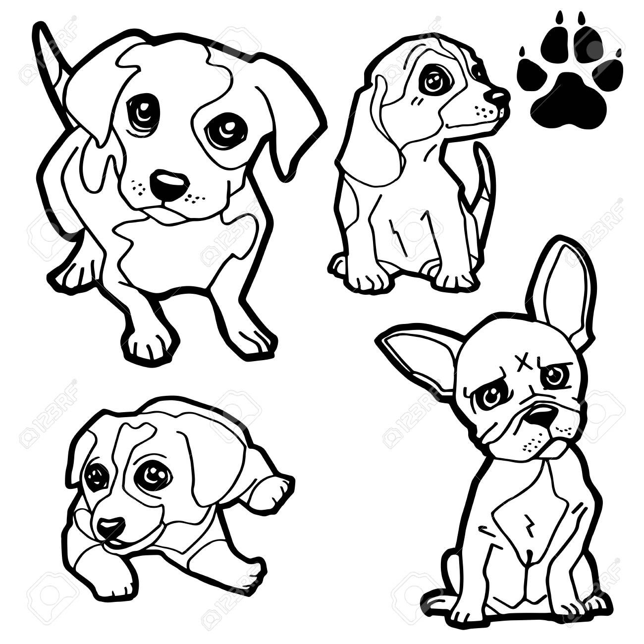Dog Cartoon And Dog Paw Print Coloring Book On White Background Vector Ad Paw Print Dog Carto Coloring Books Printable Coloring Pages Coloring Pages