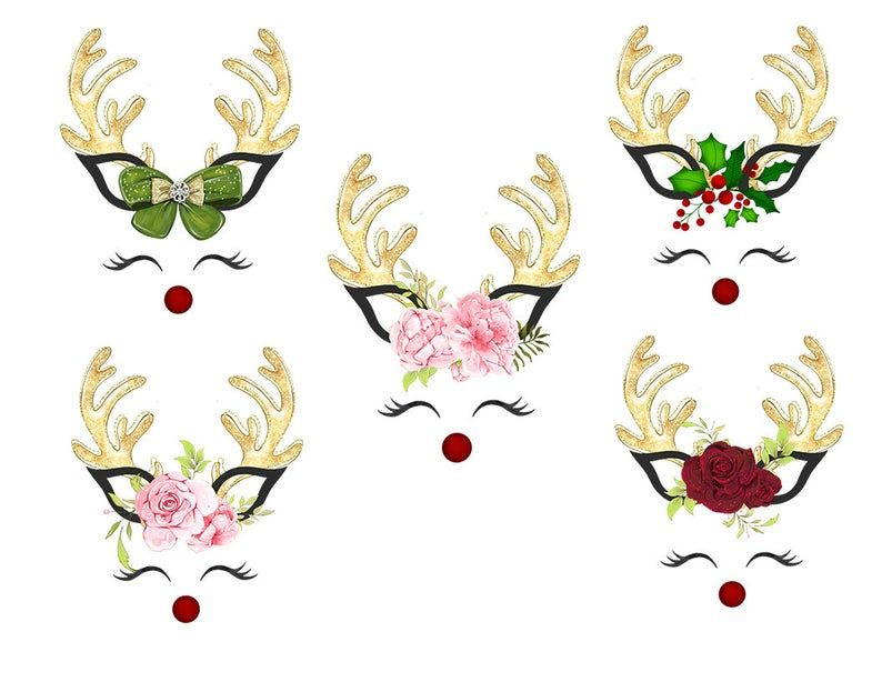 Floral Christmas Deer Horn Vector Flowers Deer Clip Art Etsy Christmas Labels Antler Christmas Christmas Doodles