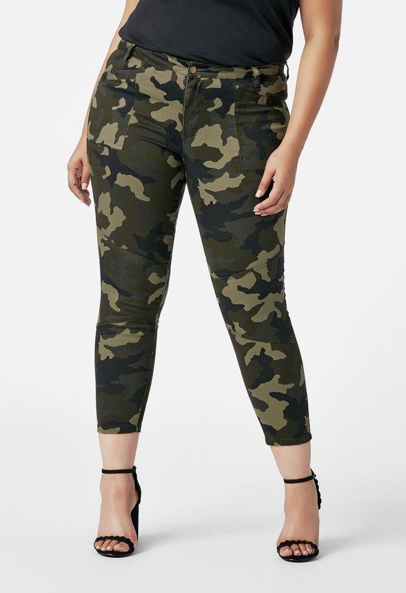 6f86499426 JustFab Camo Skinny Pant Womens Green plus Size 18W