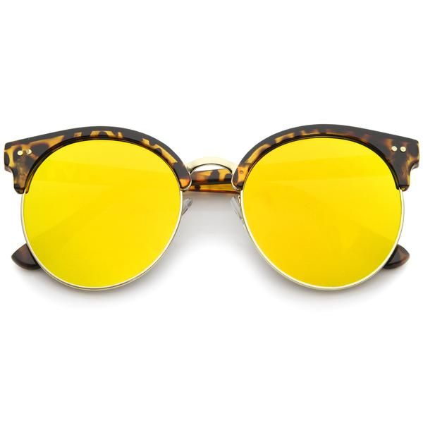 Sunglasses Round Lens Oversized Cat Eye