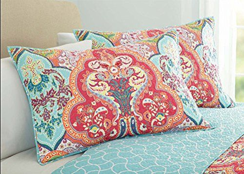 Cot In A Box Morocco Turquoise: Turquoise & Coral Tropical Beach Quilt Set