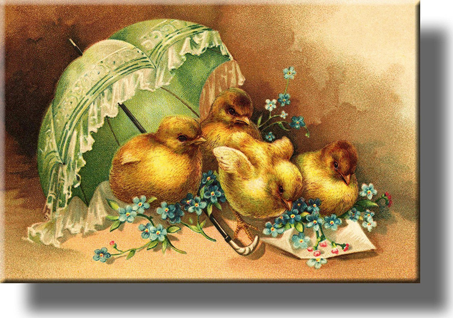 Easter Chicks under Umbrella Picture on Acrylic , Wall Art Décor ...