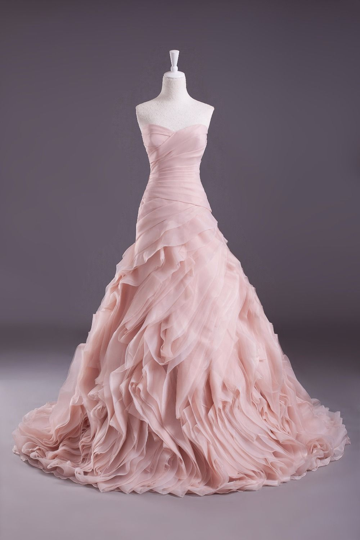 Rose colored wedding dress  Dusty rose elegant Mermaid strapless Long lace up Wedding Dresses
