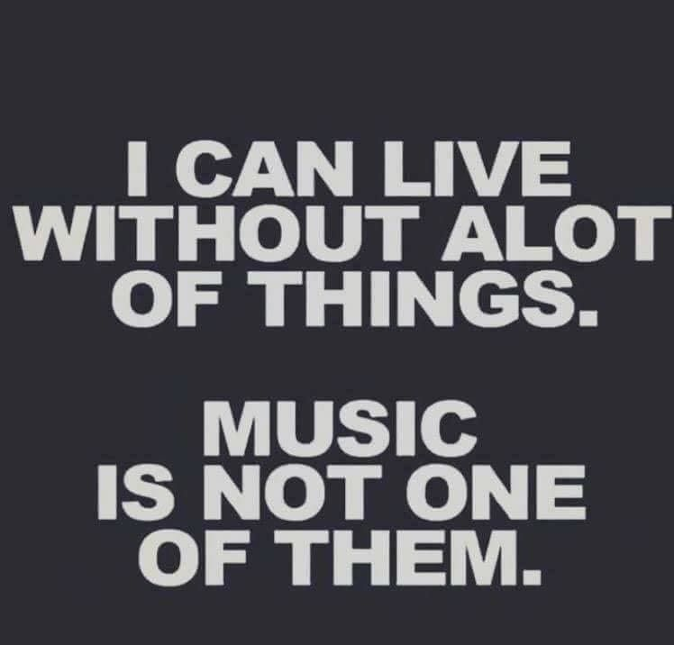 I can live without a lot of things. Music is not one of ...