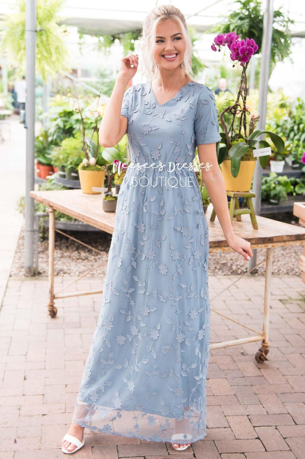 The Kinsley In 2021 Modest Dresses Classy Dress Dusty Blue Bridesmaid Dresses [ 1850 x 1231 Pixel ]