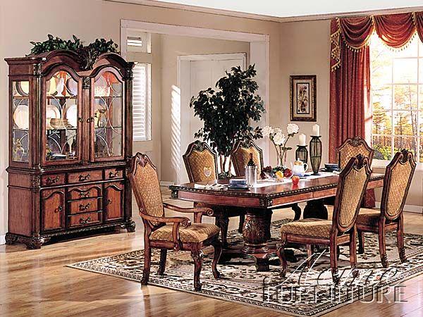 Chateau De Ville Cherry Wood Fabric Glass Dining Room Set Awesome Glass Dining Room Set Decorating Design