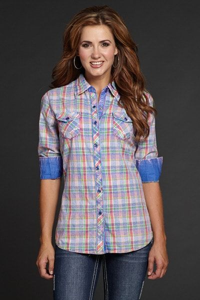 Cowgirl Up Womens Blue 100% Cotton L/S Western Shirt Multi Plaid
