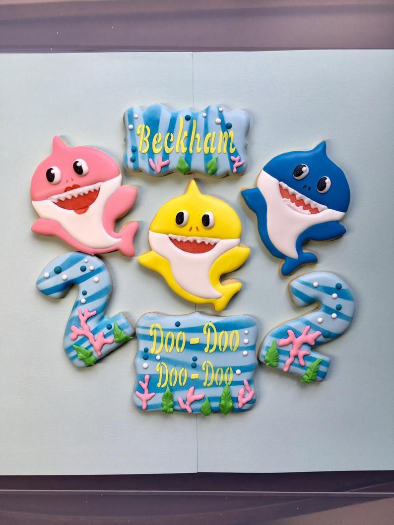 Shark Cookies, Baby Birthday Favors for Boys and Girls 1