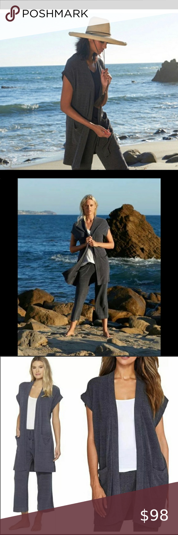 Barefoot Dreams ultra lite grey Brand New With Tag Barefoot Dreams ultra lite grey sleeveless cardigan/Brand New With Tags .. the cozy chic ultra lite knit fabric is so luxurious soft , you'll NEVER want to take it off , but don't worry no one is saying you have to , your closet is screaming for this amazing piece Barefoot Dreams Sweaters Cardigans