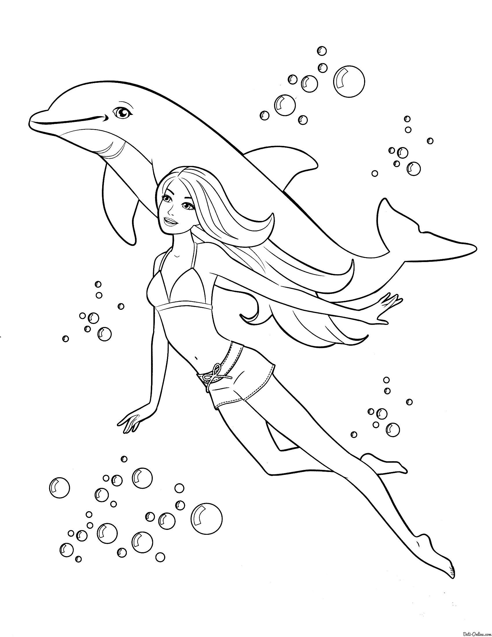 Раскраска Барби с дельфином распечатать или скачать ...