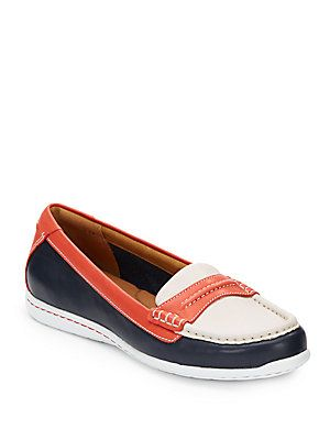 Clarks Cliffrose Enza Colorblock Leather Loafers in Navy & orange