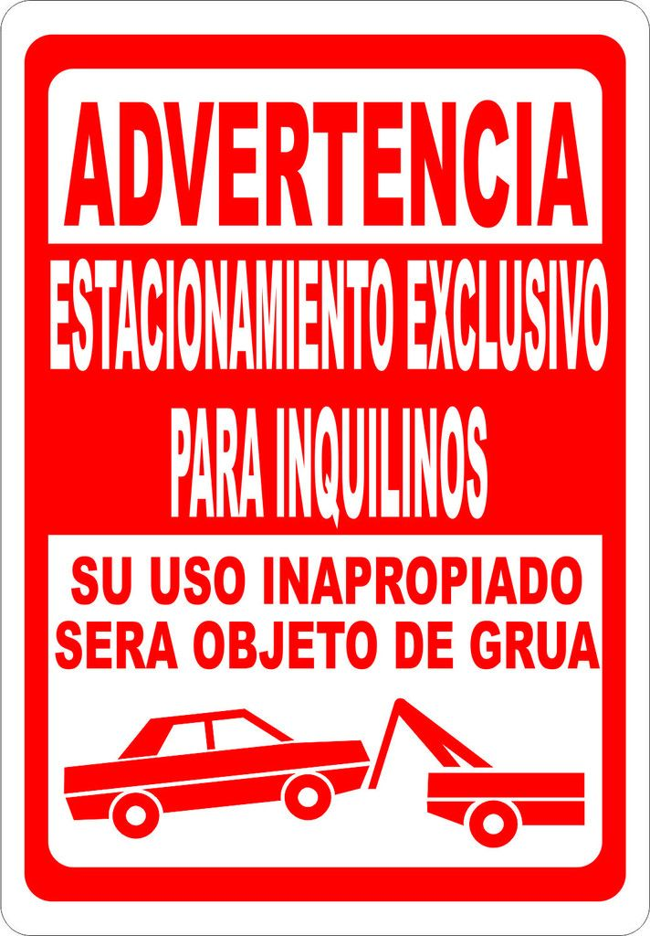 Advertencia Estacionamiento Exclusivo Para Inquilinos Sign