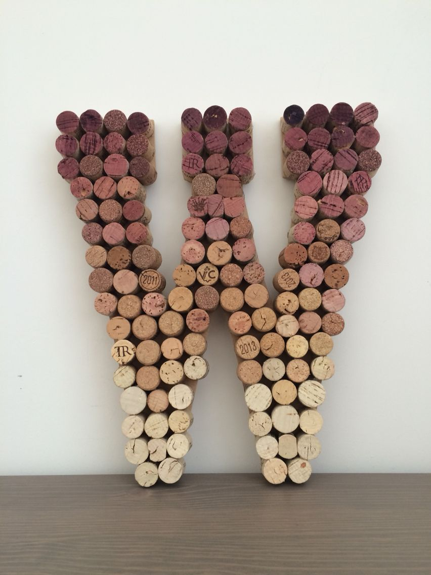Ombre wine cork letter w cork board pinterest wine for Cork craft
