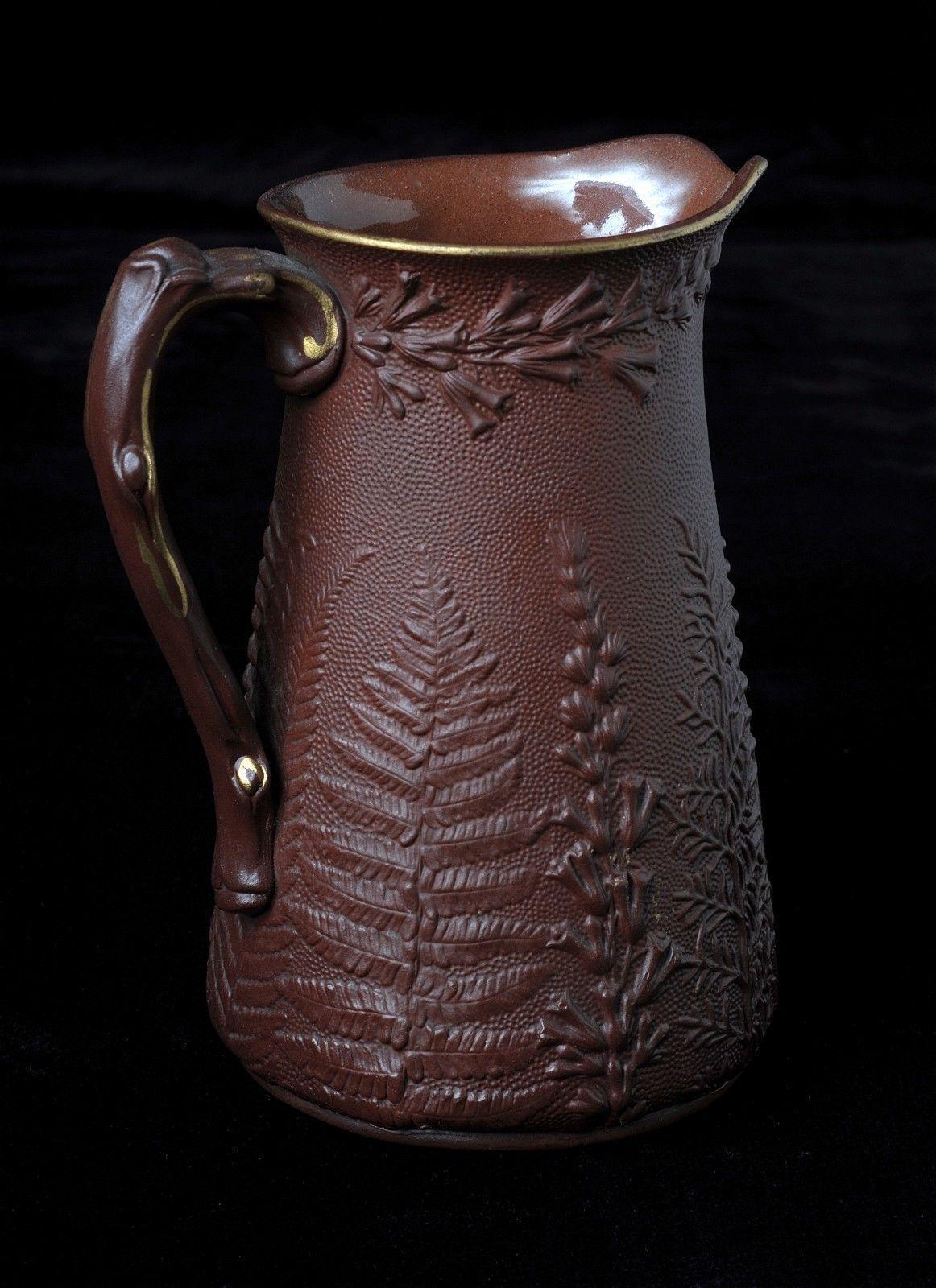 Antique Brown Ceramic Pitcher or Jug with Ferns Gold D Mark   eBay
