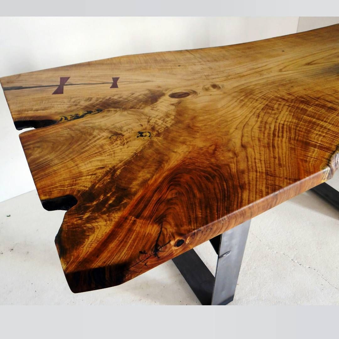 Natural edge dining table w steel hairpin legs from impact imports of -  Japanese Pagoda Wood Supposedly Dining Table We Finished Last Week Purple Heart