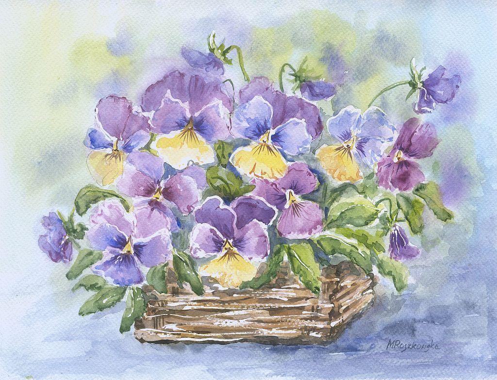 Bratki W Koszyczku Maria Roszkowska Watercolor Watercolor Flowers Painting Watercolor Art