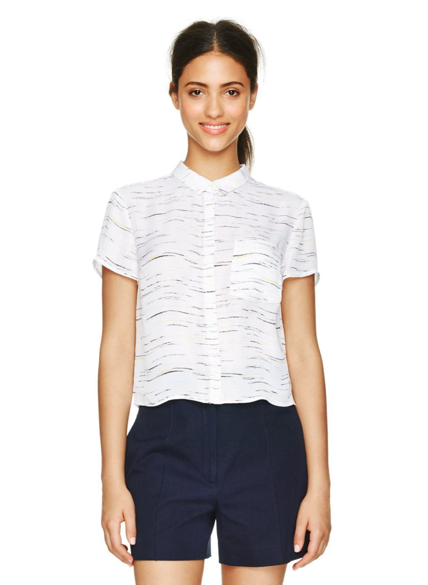 BABATON EMORY BLOUSE - A sleek and beautifully tailored short-sleeve button-up, featuring a custom space-dye pattern
