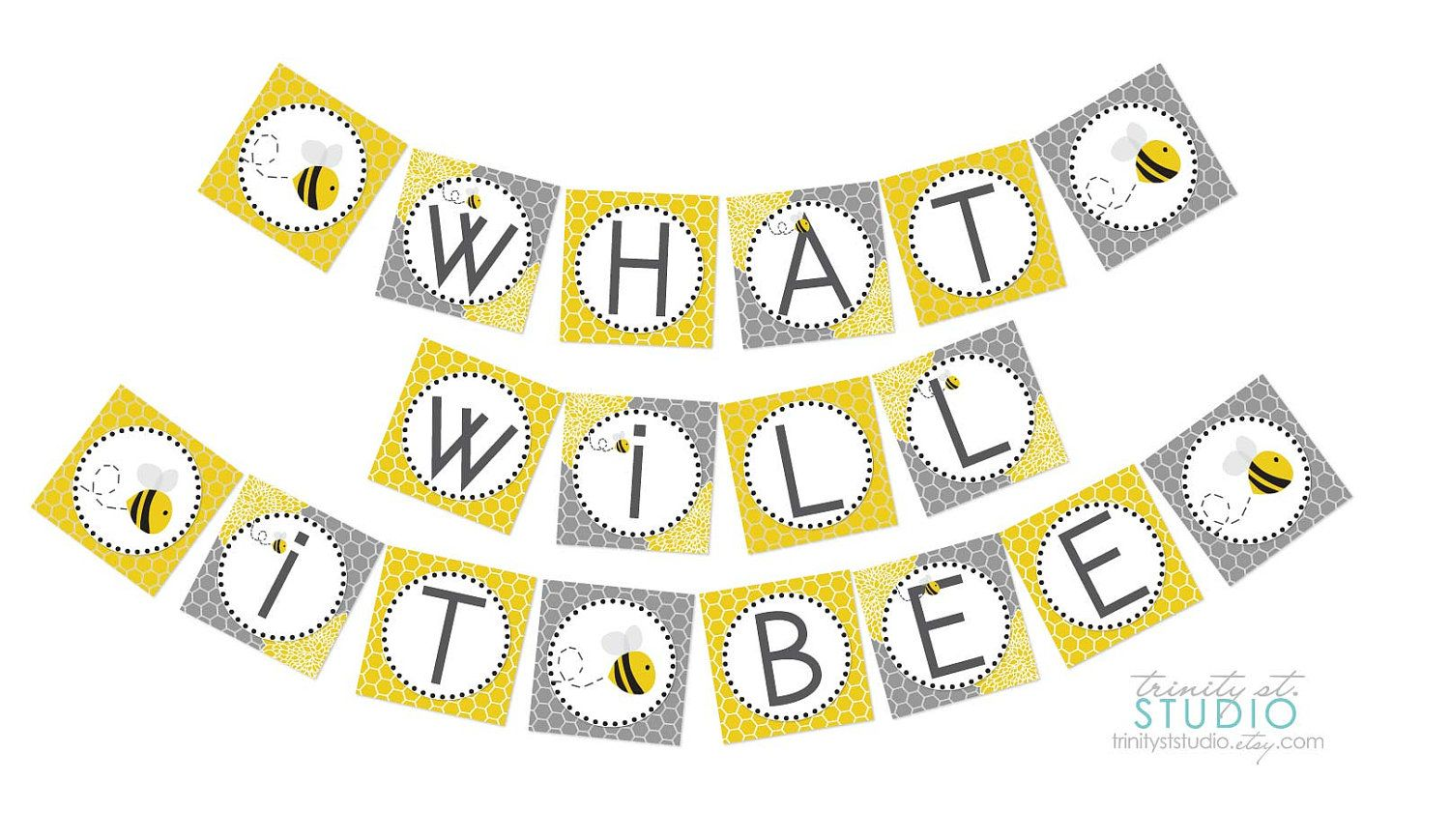Honey Bee Printable Party Banner For A Gender Reveal Baby Shower