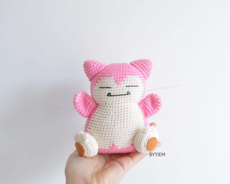 Snorlax, Pink Snorlax, Pokemon Plush, Pokemon, Amigurumi, Crochet ...