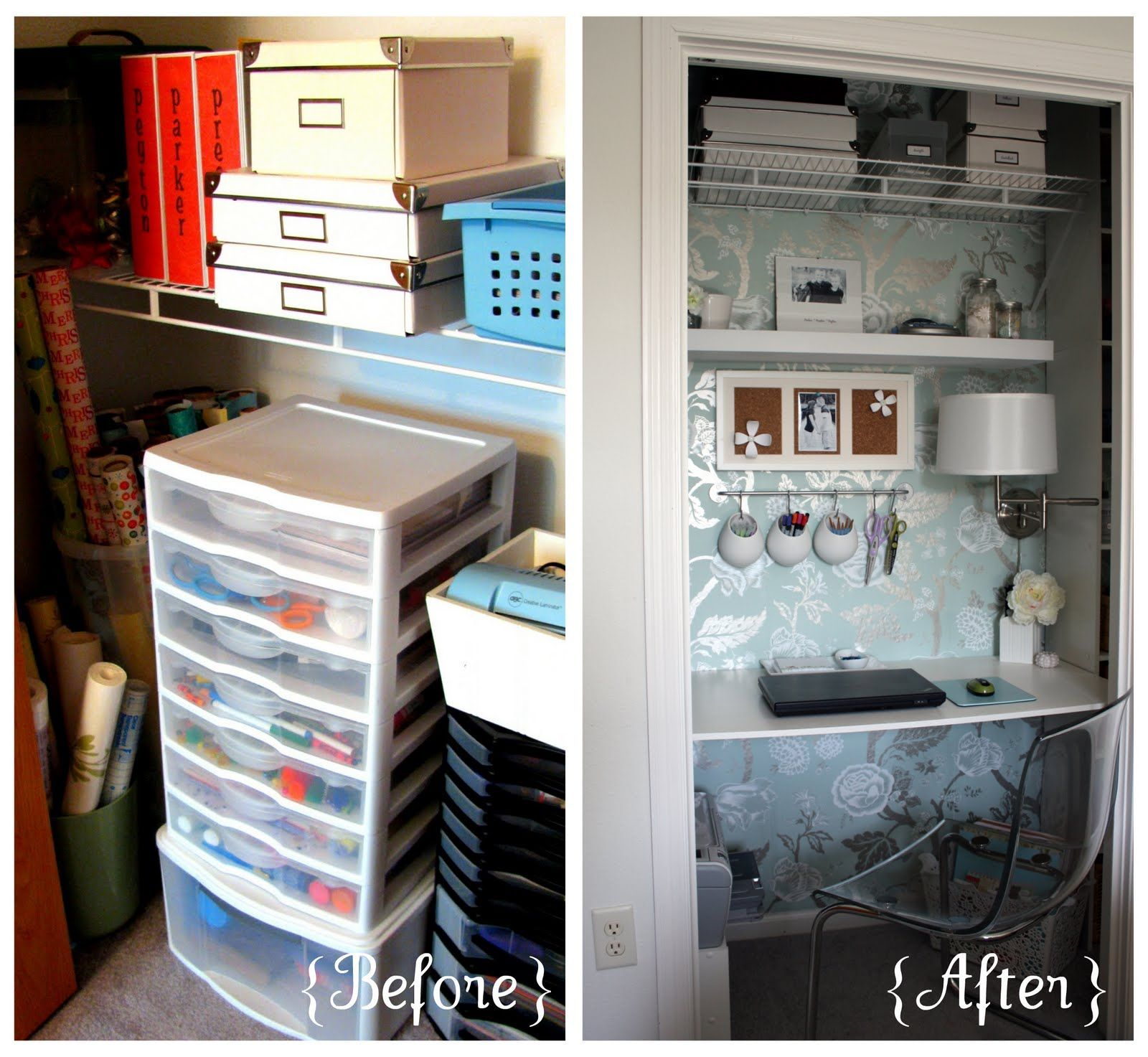 small closet office ideas. IHeart Organizing: August Featured Space: Bedroom - Conquering Closets {part 3} Small Closet Office Ideas S
