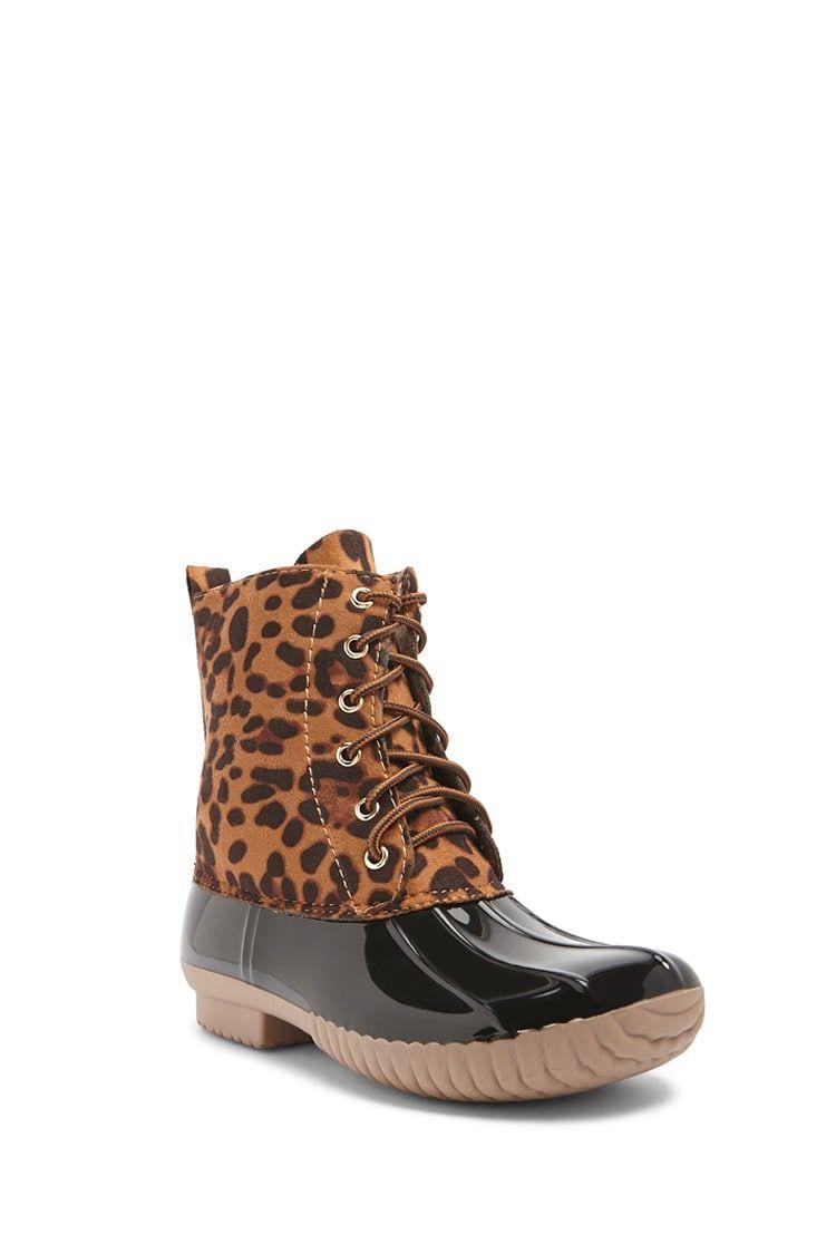 yoki leopard duck boots
